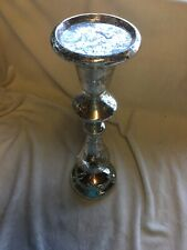 Heaven Sends Mercury Effect Silver Glass Pillar Candle Stand 35cm x 11cm - 773