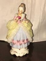 Antique Dresden Victorian Lady Porcelain Hand Painted Figurine Paster Dress