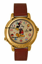 NEW Disney Lorus Mickey Mouse Musical International Flags Gold Watch