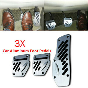 3PCS Car Non-slip Aluminum Accelerator Foot Pedals Pad Cover Brake Clutch Solid