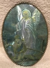 "Vintage Flue Cover - Guardian Angel Picture under Glass Chain Border 8"" x 11"""