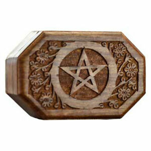 """Octagonal Pentagram Carved Wood Box NEW 4x6"""" Wooden Chest for Herbs or Trinkets"""