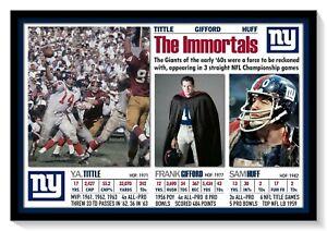 IMMORTALS: N.Y. GIANT GREATS Y.A. TITTLE, FRANK GIFFORD, SAM HUFF 19x13 POSTER