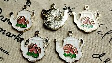 Teapot charms 2 white enamel & gold vintage style charm jewellery supplies C387