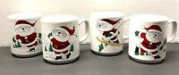 Vintage Active Sports Santa Coffee Mugs Ceramic 8 Oz Japan Set Of 4 FLAWS Read