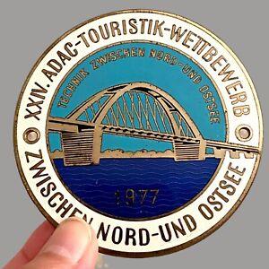 Vintage Emaille Plakette ALT 1977 ADAC Touristik-Wettbewerb Technik Nord-Ostsee