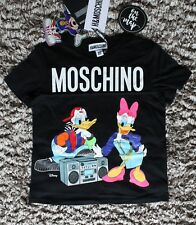 H&M Moschino TV HM Donald Duck T-shirt Tee Black XS S M Extra Small Medium New