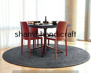 Braided Round Reversible 150x150 CM Natural Black Color Jute Rug Floor Mat Decor