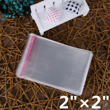 """100Pcs 2""""x2"""" Small Clear Self Adhesive Resealable Cello Cellophane Poly OPP Bags"""