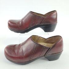 Dansko Burgandy Leather Stitched Heeled Clogs Shoes Womens Size 8.5 US/ 39 EU