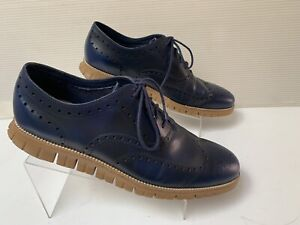 Cole Haan Men's ZEROGRAND Wingtip Oxford C26428 Leather Navy Blue Size 15M