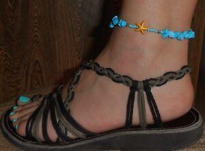 Handmade Hippie Boho Anklet Turquoise Stone Beads Yellow Starfish Adjustable