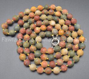 6/8/10mm Matte Multicolor Picasso Jasper Round Gemstone Beads Necklace 18-72''