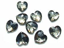 20 AB Coated Acrylic Rhinestone Gems 16 mm Love Heart Flatback Sew On 2-Hole
