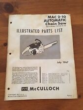McCulloch Chainsaw Manual Model 2-10 , 1967