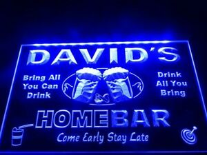 Custom Home Bar LED Neon Sign Beer Family Name Hanging Light Personalised Plaque