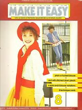 Make It Easy 80s Sewing Pattern No.8 Plain Tucked Blouse Pleated Skirt Size 8-16