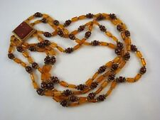 Vintage ORIGINAL BY ROBERT Necklace 4 Strand Amber Glass Beads GOLDSTONE Clasp