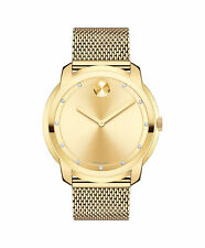 New Movado Bold Diamond Dial Gold Tone Mesh Stainless Steel Men's Watch 3600460