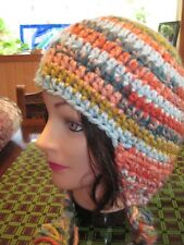 HANDMADE CROCHET HAT WITH EAR FLAPS AND TIES -  UNISEX ADULT