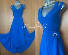 Karen Millen UK 12 Royal Blue Fluid Eyelet Belt Cut Shoulder Flare Midi Dress 40