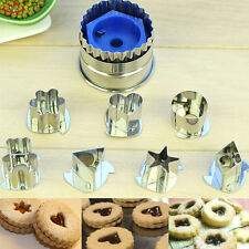 7pcs Stainless Steel Heart Star Cookie Biscuit Cutters Jelly Cake Baking Mold