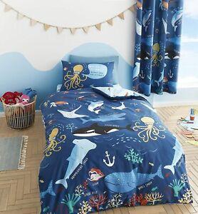 Catherine Lansfield Children's Sea Creatures Ocean Life Navy Duvet Cover Set