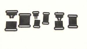 Black plastic safety breakaways for neck straps 10mm 15mm 20mm UK post included
