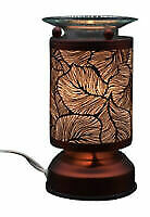 Metal Electric Touch Aroma Lamp Oil Warmer Tart Wax Melts Burner Leaves