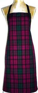 APRON, ATTRACTIVE GREEN & PURPLE LINDSAY TARTAN .FRONT POCKET.'Made in Scotland'