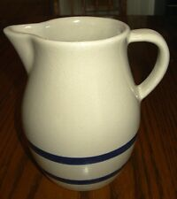 Roseville Ransbottom pottery pitcher cream with blue stripes R R P CO 303-H
