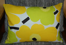 Handmade pillow case from Marimekko Yellow Pieni Unikko cotton fabric 30x40cm