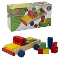 13 Pcs Wooden Truck With 12 Building Blocks Bricks Playset Kids Gift Toy Set NEW