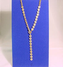 Rhinestone Encrusted Discs #N83547G/22 Gold Chain Necklace With