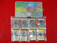 500pcs 3mm 5mm Red Yellow Green Blue White LED Assortment Kit &400pcs  Resistor