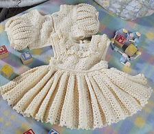 Crochet Pattern To Make Baby's Occasion Frilly Dress & Cardigan