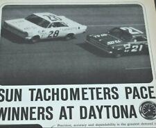 1965 Vintage Print Ad Sun Tachometers Pace Winners Daytona 500 Fred Lorenzen
