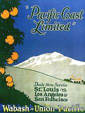 Viajes Transporte Tren Ferrocarril anuncio árbol frutal Montaña Scenic Usa Poster lv4468