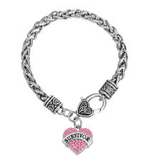 Survivor Breast Cancer Awareness Pave Crystal Heart Bracelet Jewelry for Women