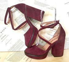 Free People Platform Remi Strappy merlot wine Suede Pump Retro Shoes 40 / 9 NEW