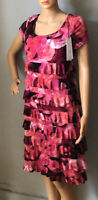 Roman Womens Tiered Rose Print Frill Dress With Stretch Uk Size 10 BNWT RRP:£40
