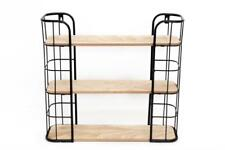 Black Metal & Wood Retro Display Cabinet 3 Shelf Rectangular Storage Wall Unit
