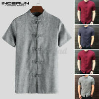 NEW Chinese Style Retro Men's Short Sleeve Shirt Button Kung Fu Causal Tops Tee