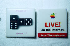 2 Vintage APPLE Computer MACINTOSH Pins LIVE! in the internet / System 7.5