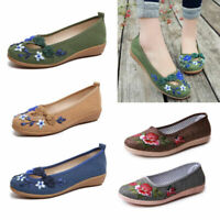 Womens Ladies Flat Chinese Embroidery Floral Ballerina Pumps Slip On Boat Shoes