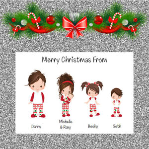 Personalised Christmas Cards x 10 Free Envelopes Family Friends  72