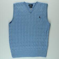 Ralph Lauren Youth Boys Sweater Vest Sleeveless Jumper Large 14 16 Blue 2656
