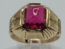 Mens 14k Solid Yellow Gold 2.50ct Ruby Solitaire Vintage Etched Ring Size 8.75