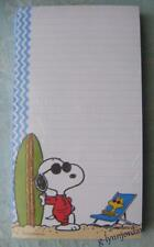PEANUTS SNOOPY SUMMER SURFING MAGNETIC SHOPPING LIST NOTEPAD NWOP