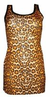 NEW ORGINAL LEOPARD LOOK ANIMAL PRINT LONG VEST TOP SUMMER DRESS GOTH PUNK EMO